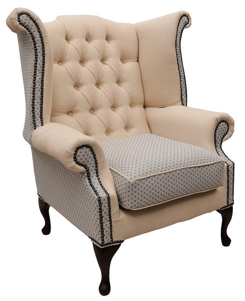 Chesterfield Queen Anne Wing Chair High Back Armchair