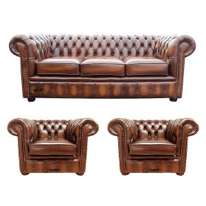 Chesterfield 3 Seater Sofa 2 X Club Chairs Leather