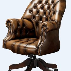 DesignerSofas4U Tan Leather Chesterfield Office Chair