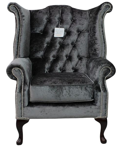 Bexley Queen Anne Crushed Velvet Chesterfield Silver