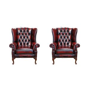 Chesterfield 2 X Mallory Wing Chair Leather Sofa Suite